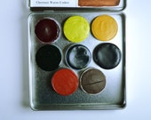 The Meadow Palette, Anthesis Arts Artisanal Handcrafted Watercolor Paints, Large Petal Caps, Square Travel Set of Eight