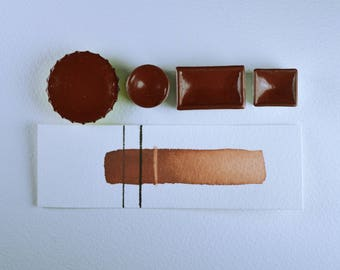 Half Pan or Small Cap - Rust Earth Red, Anthesis Arts Artisanal Handcrafted Handmade Watercolor Paints, Choose Your Size