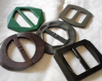 Lot of 5 VINTAGE Plastic Slide Belt Buckles  B11