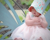 UB2 ORGANIC BLOSSOM sweetly feminine with shades of green and coral, this is a lovely baby summer sun hat, by Urban Baby Bonnets (all sizes)