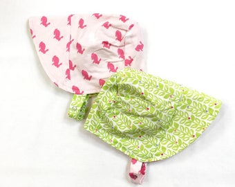 UB2 HOP GARDEN a hippity hoppity bunny rabbit girly pink and grassy green garden of a baby summer sun hat, by Urban Baby Bonnets (all sizes)