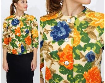 Vintage 1960s 100% Wool Colorful Autumn Tone Floral Screen-printed Cardigan Sweater by Kio | Medium