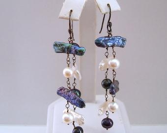 Freshwater Pearl Dangle Sterling Silver Earrings.