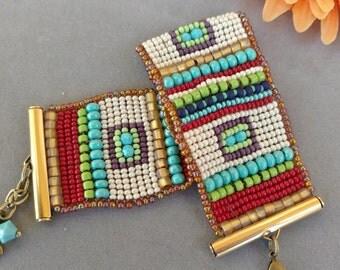 Native American Woven Loomed Cuff Bracelet, Beadwork Cuff, Beadweaving, Seed Bead Cuff, Turquoise Bracelet, December Birthday, CALYPSO