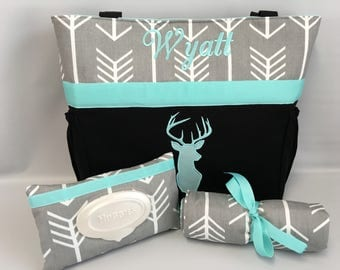 ARROWS and DEER  ...  AQUA Diaper Bag .. Changing Pad  ...  Wipe  Cover Set ... Gray and Navy