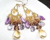Citrine Moss Amethyst Pink Amethyst Ethiopian opal Chandelier gold Vermeil earrings , 14k gold filled hooks ... STARLA Earrings