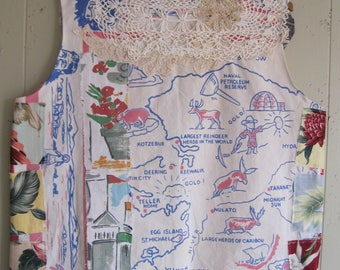 vintage state tablecloth & linens PATCHWORK COUTURE -Random Scraps of Fabric - Wearable Folk Art Collage Clothing  - Handmade by  My Bonny