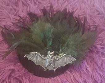 Bat, Bat hat, Bat fascinator, Bat hair clip, Bat feather clip, Goth, Gothic, Horror, MsFormaldehyde, Green, black