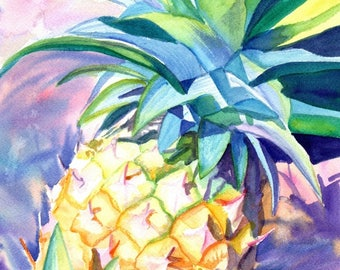 Tropical Pineapple,  5x7 art prints, Kauai giclee, Hawaiian Pineapple  art,  tropical fruits , kitchen art, Kauai art, housewarming gifts