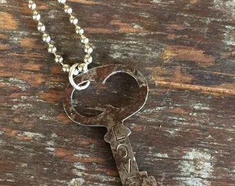 VALENTINES SALE Charms on Chain, Vintage Stamped key on Base Metal Ball Chain, Upcycled Gifts under 20, Gifts for Her, Victorian key, Person