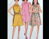 Vintage 60s stand Up Collar Mod Tent Trapeze Dress Sewing Pattern 7169 B32