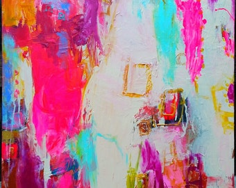 Pink, abstract, pink, turquoise, red