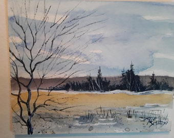 "A Winter Day  3""×4"" in.  Landscape painting  Jim Smeltz"