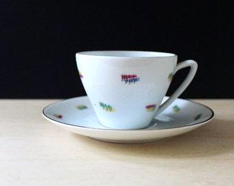 1950s Upsala Ekeby mid century modern cup and saucer.