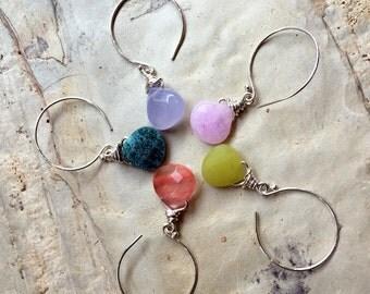 Drop nugget Earrings, Sterling silver Hoop Earrings, Dangle earrings, gemstone Earrings, round wire wrap earrings. dainty Hoops - E8068