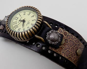 Steampunk watch. Steampunk wrist watch. Biker watch.