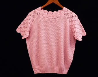 vintage PINK POINTELLE knit top // short sleeve sweater // 80's slouch sweater // S M small medium