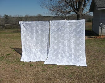 2 Vintage Lace Curtains WHITE Lace Panels Pair Lace Drapes 54x84  Window Treatment French Country Farmhouse Cottage Chic Lace Curtain