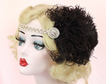 Black and Silver Headband - Great Gatsby Headpiece - Feather Fascinator - 1920s Flapper - Pearl Bridal Hair Accessory - Halloween Costume