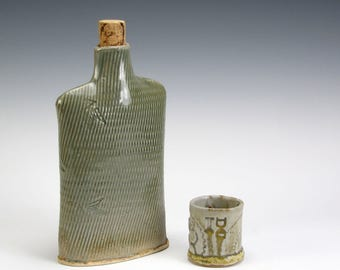 Ceramic Hip Flask and Shot.