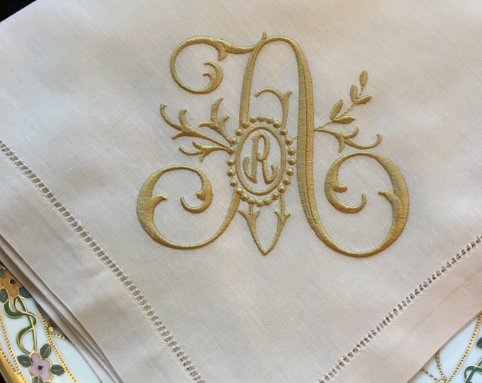 Monogrammed Linen  Dinner Napkins or Table Runner, FAMILY TREE monogram,Wedding Napkins, Head Table Decor, Bridal Luncheon, Cake Table Decor