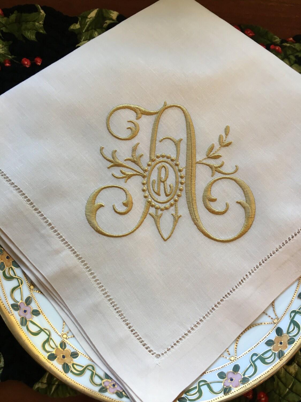 monogrammed linen dinner napkins or table runner family tree monogram wedding napkin head. Black Bedroom Furniture Sets. Home Design Ideas