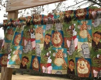 Wildlife Safari Jungle Nursery Valance With Giraffe Monkey Elephant Lion Tiger Hippo Rhino Nursery Patch Curtain Valance