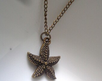 Star Fish Charm Necklace, Star Fish Pendant, Antique Brass Star Fish Necklace