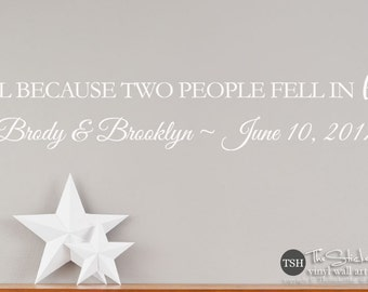 All Because Two People Fell In Love Decal Sticker - Custom Names Wedding Annivsary Date - Home Wedding Decor - Engagement Decor - 1955