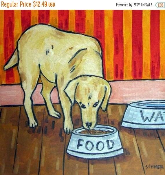 30% off Golden Retriever Eating from a Dog bowl Art Tile