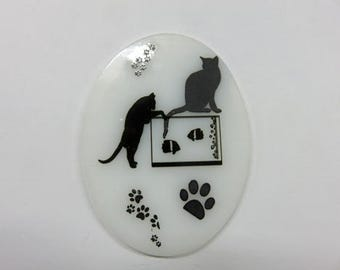 Cat NLs 5 Choices - 5 Different Cat Nightlights To Choose From - Black & White Fused Glass Night Lights - ALL CATS!!