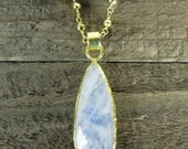 Moonstone & Gold Chain Necklace, Moonstone Pendant, Gemstone Jewelry