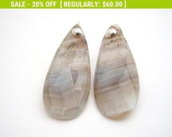 20% Off Sale Agate Dangle Earrings, Sterling Silver, Gray, White, Teardrop Earrings