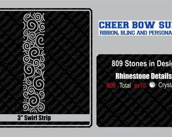 "3"" Cheer Bow Brick Swirl Rhinestone Strip 3"" X 13"" INSTANT FILE DOWNLOAD"