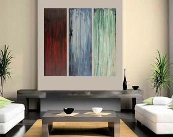 """Abstract painting 36"""" large square painting original art red blue green painting on canvas wall art wall decor wall hanging by qiqigallery"""