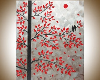 """Red leaves tree love Birds art wall art wall decor Impasto home Office Wall Hangings black red """"Dawn of Love"""" by  qiqigallery"""