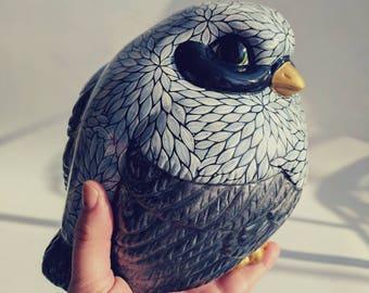 Fat Birdie: hand painted big fat birdie figurine gray black and white bird lovers fat bird figurine
