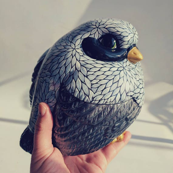 Fat Birdie: hand painted big fat birdie figurine gray black and white bird lovers fat bird figurine