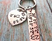 Anniversary Keychain Wedding Keychain Latitude Longitude Keychain - Wedding Location Bride Groom Gift Wedding Valentines Gift-K98