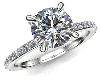 Moissanite Engagement Ring | Claw Prong | 1 Carat Forever One Colorless Round White Moissanite, Solid 14k Rose, White, or Yellow Gold