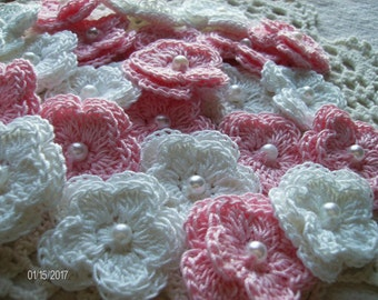 Crochet Double Layered Flowers set of 25 in Pink and White