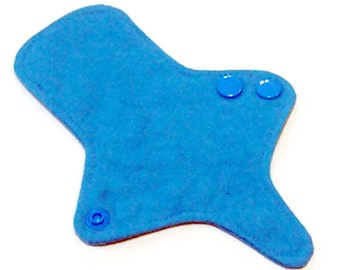 ULTRATHIN Reusable Thongliner Cotton Flannel Mini Pad with wings for Every Day - Washable Cotton Flannel - Solid Turquoise