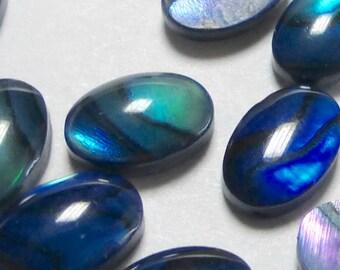 Blue Paua Abalone Shell Oval Cabochon 4x6mm (10)