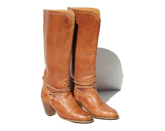 Vintage Brown Leather Western Tall Boots / size 7.5