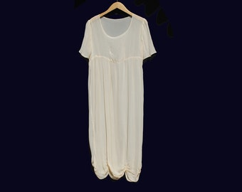 Vintage Delicate Nude Overlay Sheer Short Sleeve Dress
