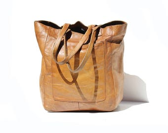 Vintage Mocha Brown Leather Large Tote Bag