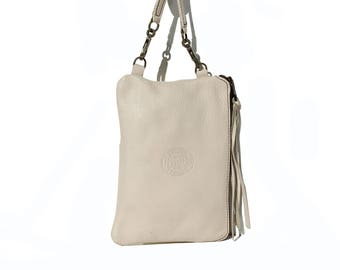 Ivory White Leather Cross Body Bag