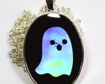 Spooky Witchy Holo Holographic Ghost Resin Pendant