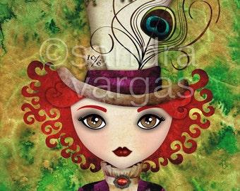 Lady Hatter 8x10 Stretched Canvas Art Print, Gallery Wrapped Canvas, Alice in Wonderland, Mad Hatter Wall Art