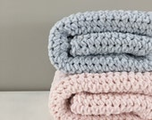 Velvet chenille baby blanket - extra soft - Pale Blue - choose your color